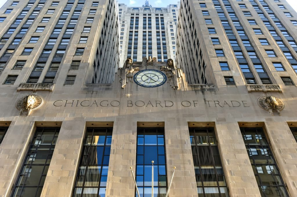 Chicago - September 7, 2015: Chicago Board of Trade Building along La Salle street in Chicago, Illinois. The art deco building was built in 1930 and first designated a Chicago Landmark on May 4, 1977.